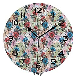 ALUONI Frameless Clock 3D DIY Decorative Clock Image Digital Flower Background Colour Pattern Colourful 10 Inch Large Size Round Wall Clock for Living Room Bedroom Office Hotel SW83281