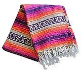 Del Mex Deluxe Classic Mexican Falsa Blanket Vintage Style, Artisan Handwoven Blanket, Beach Blanket, Yoga Blanket (Monterey)