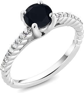 Gem Stone King 1.46 Ct Round Black Onyx G/H Lab Grown Diamond 925 Sterling Silver Engagement Ring