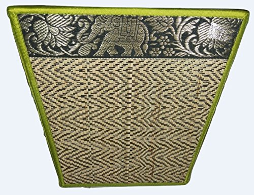 Chic Elephant Flower Handmade Reed Woven Basket, Fancy Color, Aesthetic Value (Green #3)