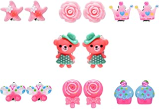 7 Pairs Colorful Cute Clip on Earrings Princess Dress Up Play Earrings Set for Party Favor