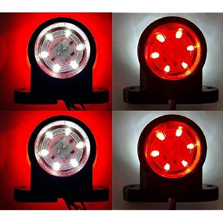4 X Led 12 24 V Rot Weiß Seitenmarkierung 12smd Leds Lichter Chassis Anhänger Lkw Bus Van Camper Auto