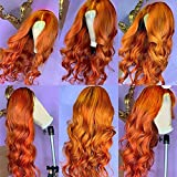 Fureya Curly Wigs for Women No Lace Wigs Long Natural Loose Wave Synthetic Glueless Wig Ginger Orange Natural Looking Middle Part Halloween Cosplay Wigs 26 Inch