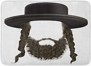Doormats Bath Rugs Outdoor/Indoor Door Mat Jewish Black Hair Sidelocks Beard Mask Wig Jew Hassid in Hat Man Passover Bathr...