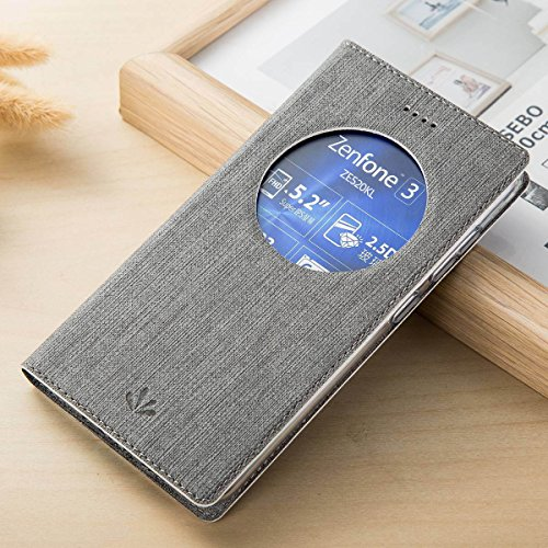 Cover ZenFone 3 ZE520KL, Yoota Slim Cover Portafoglio Copertura per Asus ZenFone 3 ZE520KL Antiurto Custodia Protettiva in Pelle PU Flip Case con View Window (Grigio)