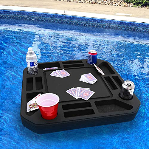 Polar Whale Floating Medium Poker Table Game Tray for Pool or Beach Party Float Lounge Durable Foam 23.5 Inch Chip Slots Drink Holders with Waterproof Playing Cards Deck UV Resistant