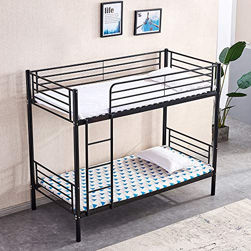 Ansley&HosHo Single Bunk Bed 3ft for Kids Metal Bunk Bed Frame with Ladder and Guardrail Household High Sleeper Loft Bunk Bed I Shape for Twins Home Children?s Bedroom Cabin with Solid Steel Slat