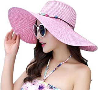 Monbedos Chapeau de paille pliable à large bord pour femme