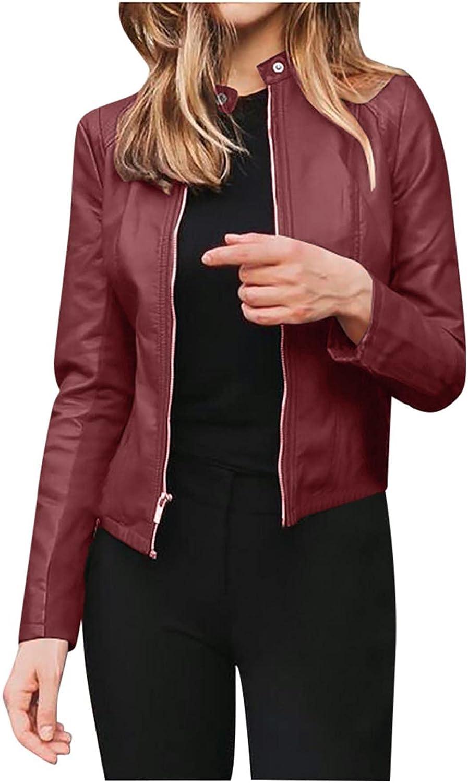 HULKAY Women's Fashion Faux Leather Moto Biker Jackets Solid Color Long Sleeve Zip Up Slim Short PU Coat Outwear
