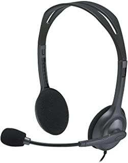Logitech H111 Wired Headset, Stereo Headphones with Noise-Cancelling Microphone, 3.5 mm Audio Jack, PC/Mac/Laptop/Smartpho...