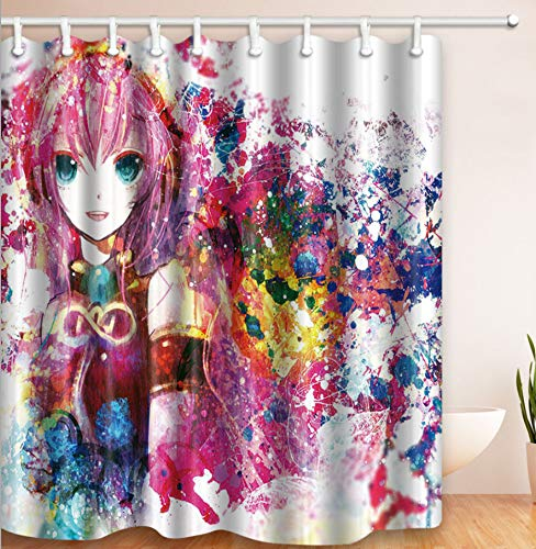 AZZXZONa Polyester 100prozent Stoff Bad Vorhang wasserdicht mehltau Hotel mädchen Hause Balkon partition Decor 180x210 cm Anime Girl Print duschvorhang
