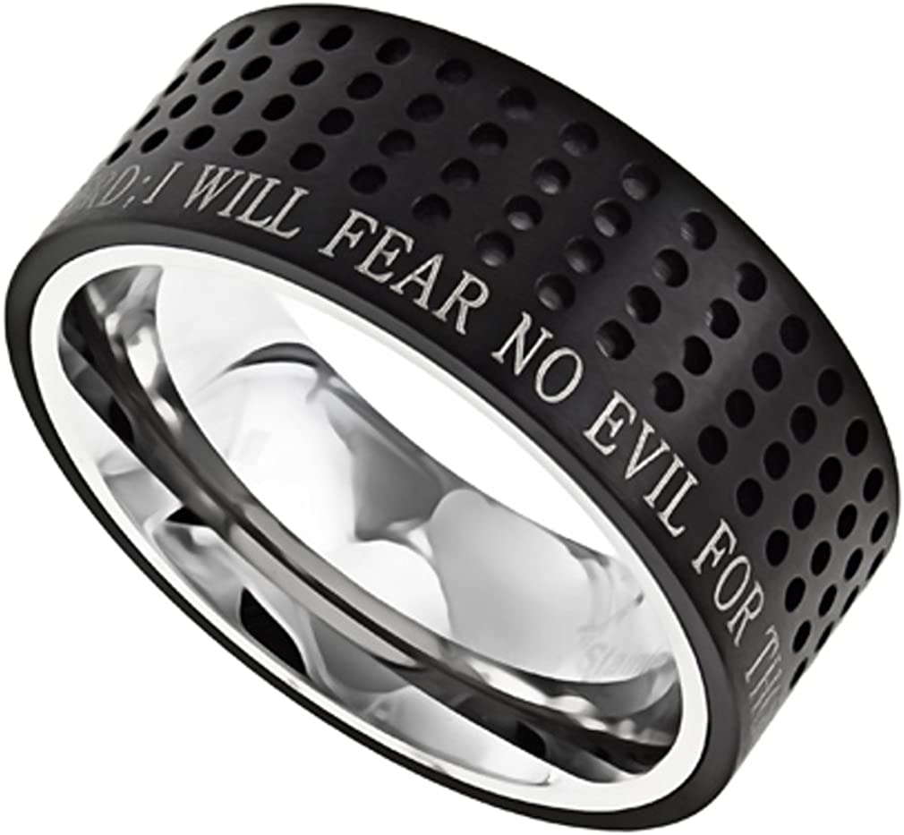 Popular shop is the lowest price challenge North Arrow Shop Black Stainless Steel Ring 2 Verse Bible Psalm New Free Shipping