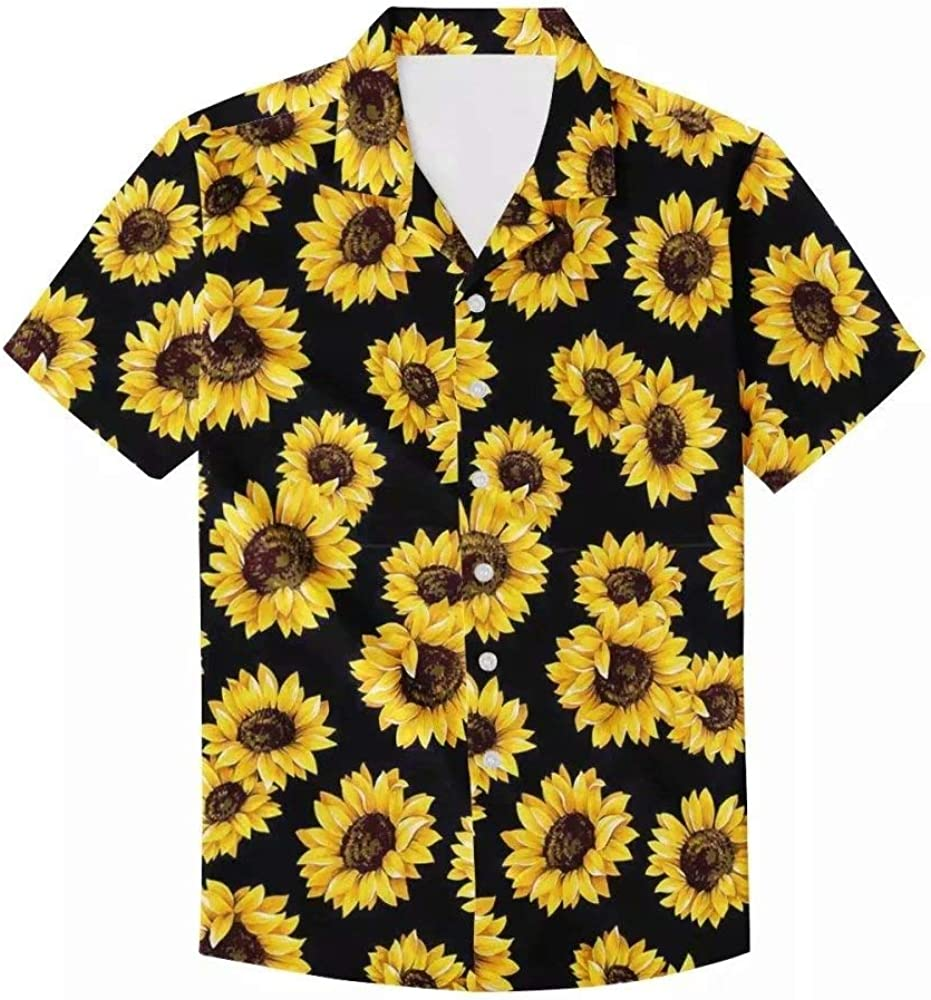 Unique Printed Funky Hawaiian Shirt Men Short Sleeve Shirt Top Blouse for Summer