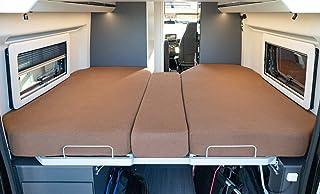 LIVING AIR Wohnmobil Spannbetttuch Set 3 teilig   2 Längsbetten + Mittelteil   geeignet für alle Fiat Ducato, Citroen Jumper, Peugeot Boxer (Wohnmobile/Wohnwagen)   Spannbettlaken für Heckbett (BROWN)