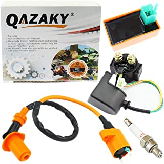 QAZAKY Performance Ignition Coil + 5 Pins CDI + Starter Relay Solenoid for GY6 50cc - 90cc 110cc 125cc 150cc 4-stroke Engine ATV Quad Scooter Go Kart Moped Chopper Racing Pit Dirt Pocket Mini Bike