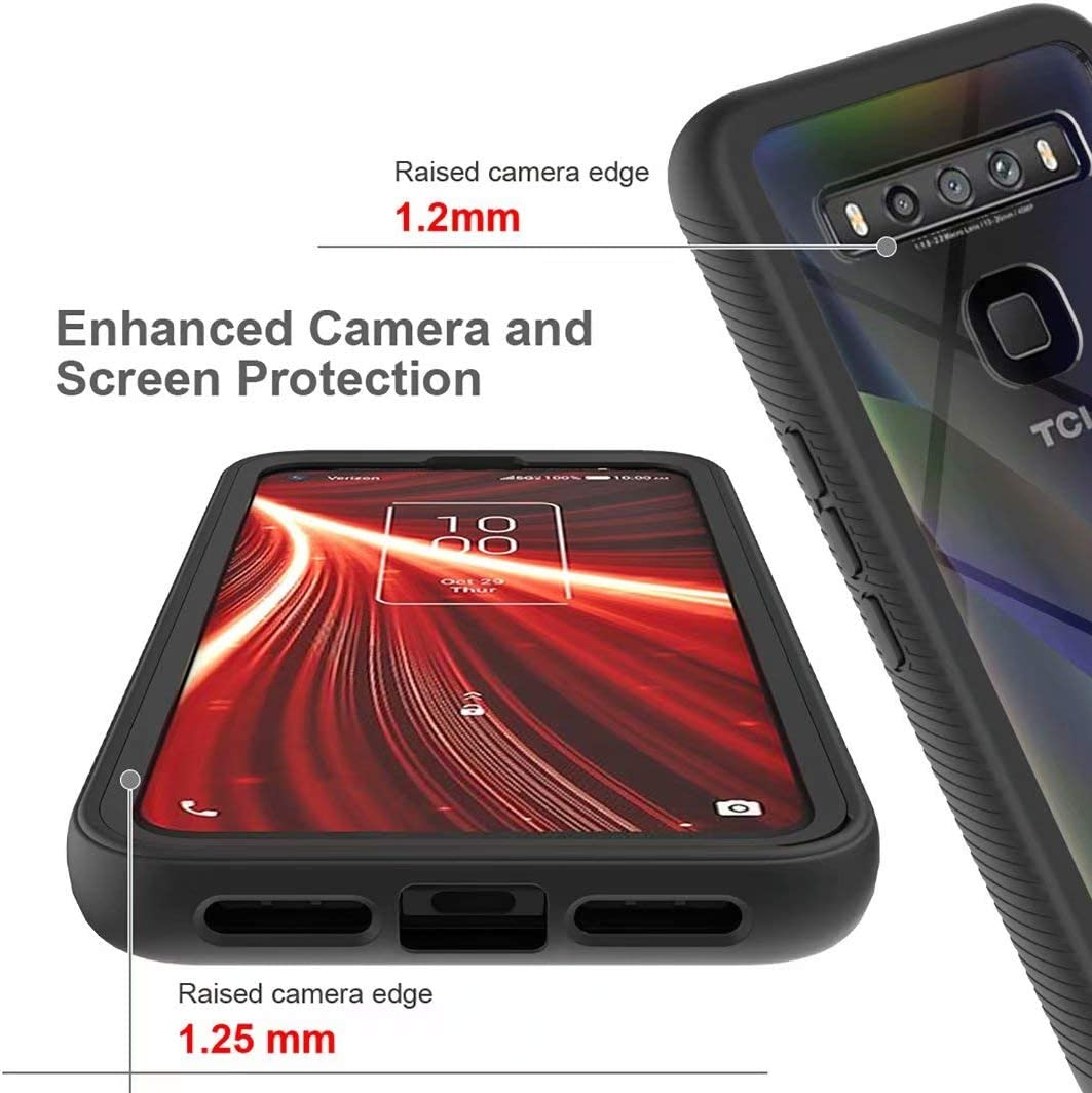 Black 360/° Protection Full Body Slim Fit Rugged Clear Bumper Case Heavy Duty Shockproof Dustproof Protective Phone Case for TCL 10 5G JIAFEI Case for TCL 10 5G