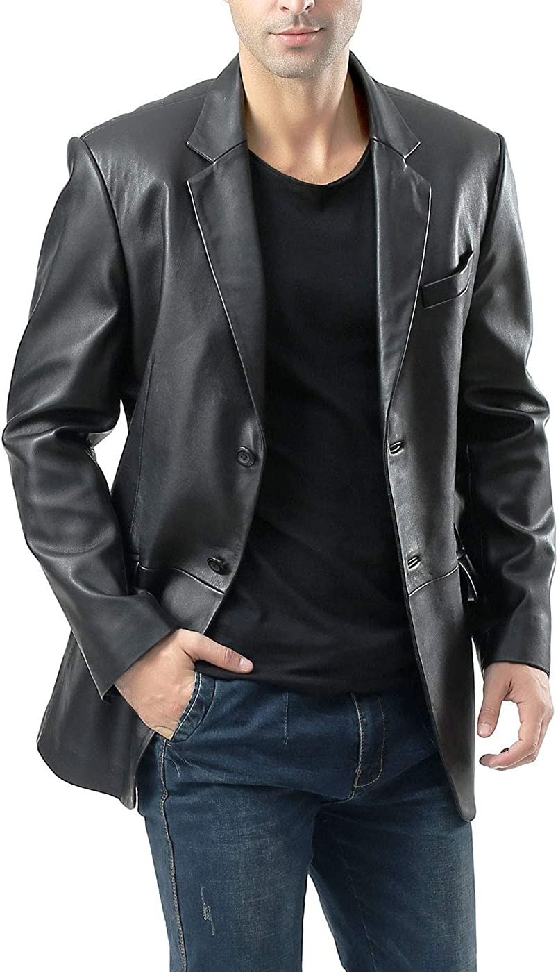 BGSD Men's Benji 2-Button Leather Blazer Lambskin Sport Coat Jacket (Regular, Big & Tall and Short)