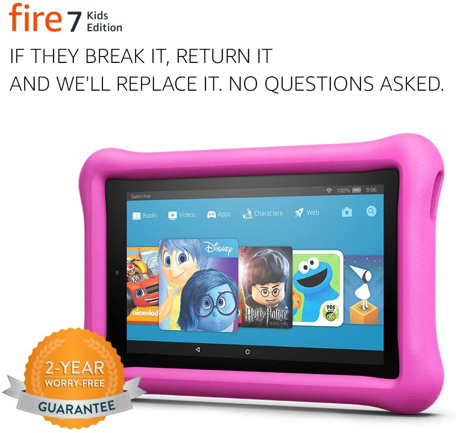 """Fire 7 Kids Edition Tablet, 7"""" Display, 16 GB, Pink Kid-Proof Case - (Previous Generation - 7th)"""