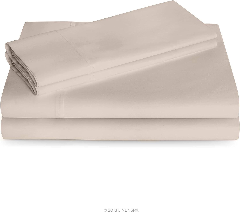Linenspa 600 Thread Count Ultra Soft, Deep Pocket Cotton Blend Sheet Set - California King - Sand