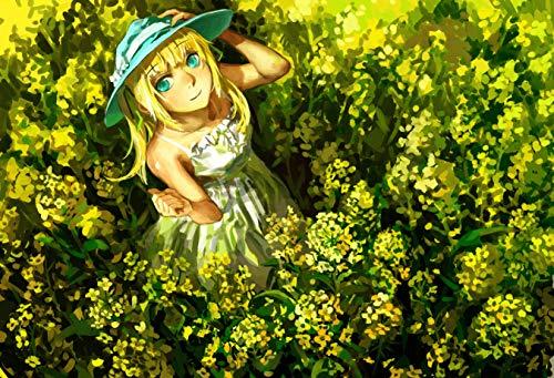 NoNo Puzzle 1000 Stück Holz Mädchen Hut Blonde Png Kinderspiel Art Decoration Geschenk Landschaft
