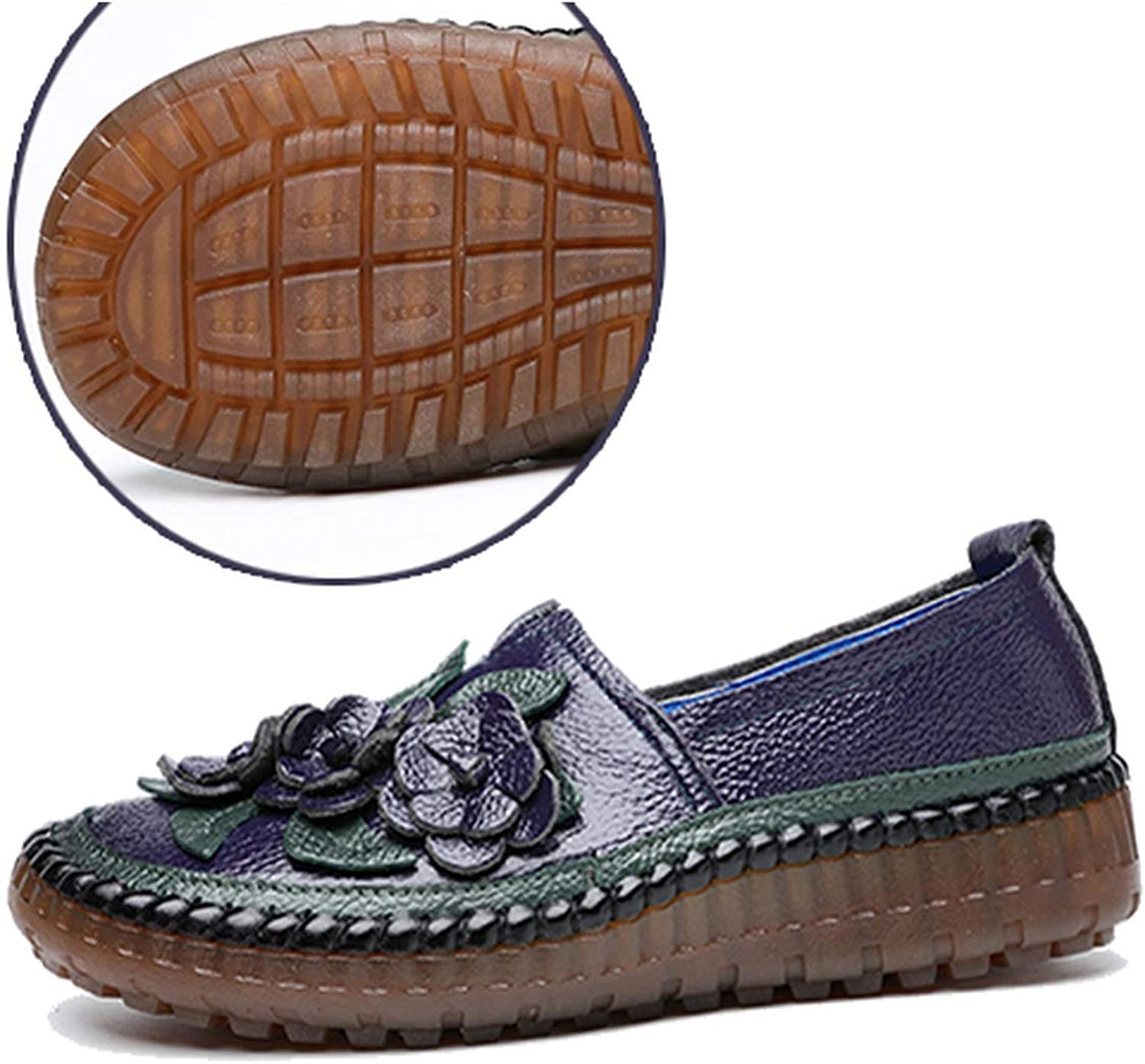 PREtty-2 Retro Style Genuine Leather Loafers shoes Women Spring Round Toe Appliques Soft Slip-On Flat shoes