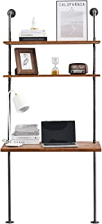 Industrial Laptop Desk Rustic Wall Ladder Desk with 2-Tier Shelf, Iron Pipe Computer Table Study Writing Table for Home, B...