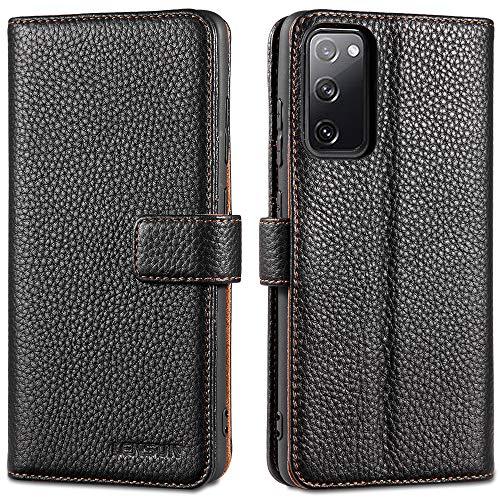 LENSUN Echtleder Hülle für Samsung Galaxy S20 FE, Leder Handyhülle Kartenfächer Handytasche Lederhülle kompatibel mit Samsung Galaxy S20 FE 5G(6,5