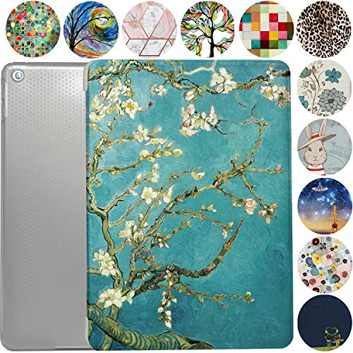 iPad 9.7 Case 2014 iPad Air 2nd Generation Slim Smart Protective Cover with Soft TPU Honeycomb Clear Back & Viewing/Typing Stand for iPad 9.7' Air 2 Gen Auto Sleep/Wake Printed- Blossom