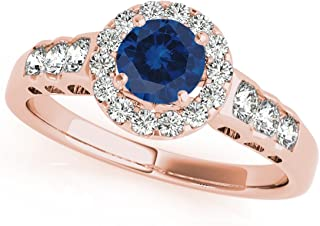 1.35 Ct. Halo Sapphire And Diamond Engagement Ring In 14k Rose Gold