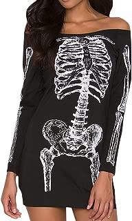 charmsamx Womens Off Shoulder Punk Halloween Dress Skeleton Printed O-Neck Long Sleeve Mini Dress Stretch Slim Casual T-Shirt Skull Dress,Black, M