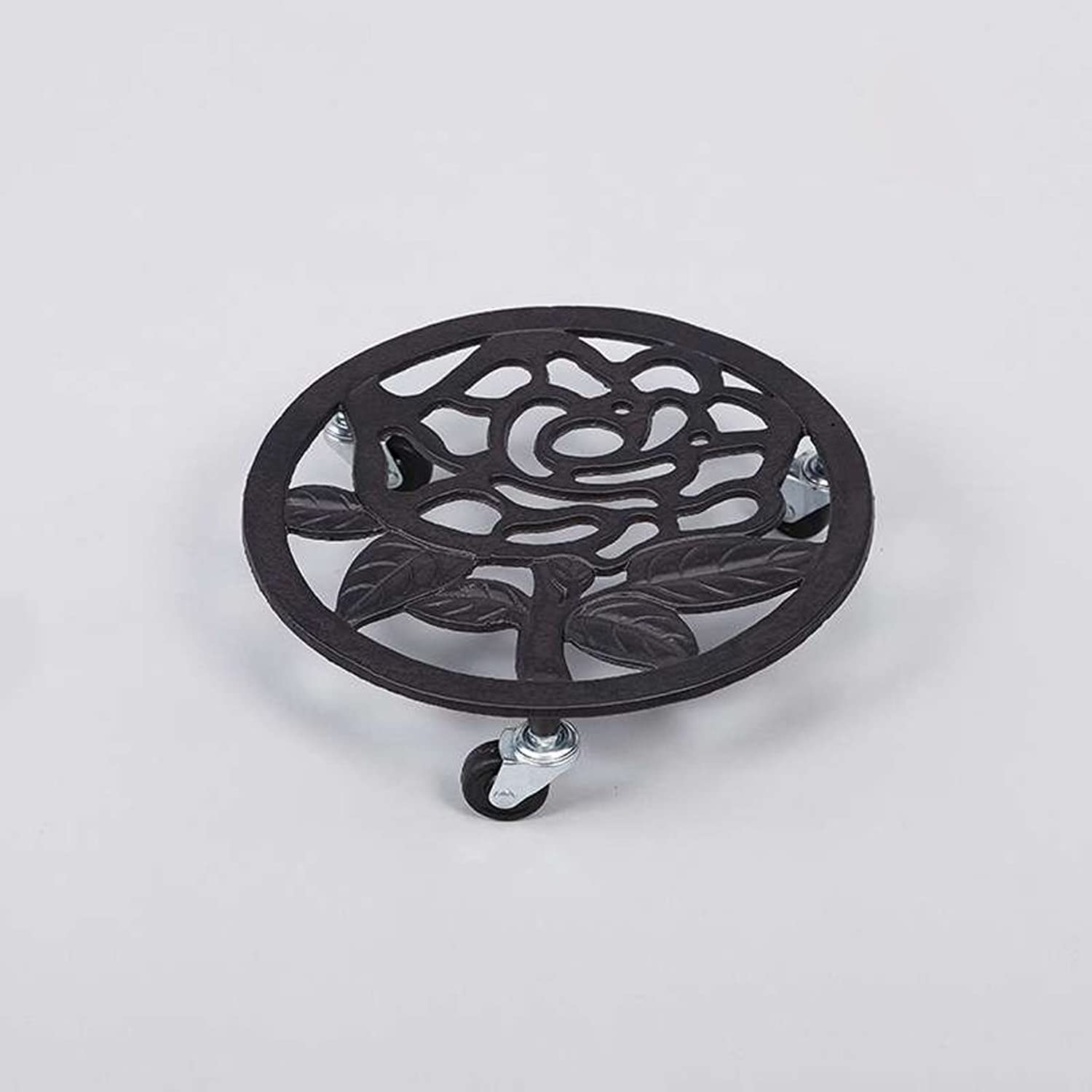 MBD 11.8 Inch Heavy Duty Iron Movable Potted Plant Stand Flowerpot Holder 4 Wheels Rolling Base