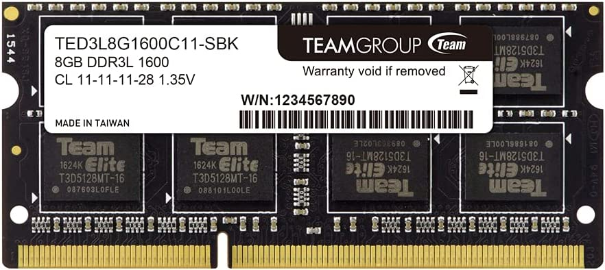 TEAMGROUP Elite DDR3L 8GB Single 1600MHz PC3-12800 CL11 Unbuffered Non-ECC 1.35V SODIMM 204-Pin Laptop Notebook PC Computer Memory Module Ram Upgrade - TED3L8G1600C11-S01 – (1x 8GB) Single