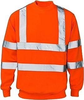 xpaccessories Mens High VIS Reflective Workwear Sweatshirt Crew Neck Long Sleeve High Viz Visibility Pullover Highway Jack...