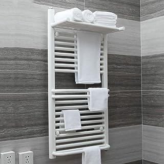Escalera Plana del radiador para toalleros con calefacción para baños Elegantes, Calentador de Toallas Toalla montada en la Pared Calentador eléctrico para Toallas de baño con Estante para Toallas