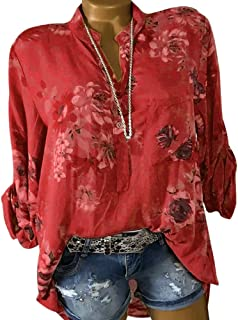 23221e51a6f7d Decha Chemisier T-Shirt Imprimé Sexy Tee-Shirt Femme Chemise Chic Tops à  Manches