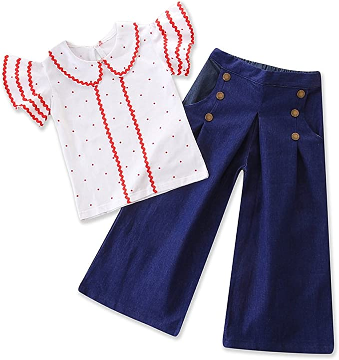 60s 70s Kids Costumes & Clothing Girls & Boys Toddler Baby Girls Polka Dot Ruffle Sleeve Tops Flare Denim Clothes Outfit Set  AT vintagedancer.com