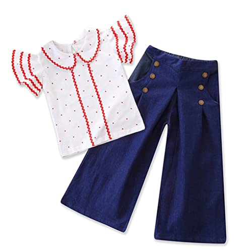 7f313fa7d00 Toddler Baby Girls Polka Dot Ruffle Sleeve Tops Flare Denim Clothes Outfit  Set