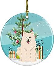 Caroline's Treasures Merry Christmas Tree Samoyed Ceramic Ornament, Multicolor