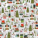 Weihnachtsstoff – RBF814 Häuser grau – 0,5 Meter –