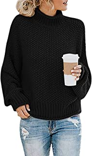 aihihe Womens Oversized Turtleneck Sweaters Pullover Winter Warm Chunky Batwing Long Sleeve Knitted Blouses Top Tunic