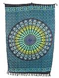 Sarong Pareo Mandala Maya II hellblau-blau/große Auswahl schönste Farben/Wickelrock Strandtuch Sauna-Tuch Wickelkleid Schal Wickeltuch Bademode Freizeitmode Sommermode/aus 100% Viskose