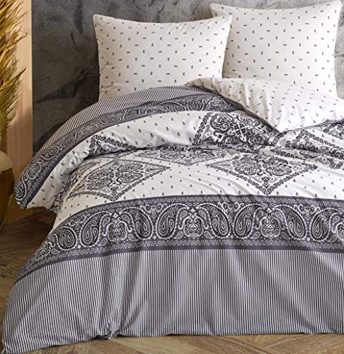 Leonado Vicenti - Juego de ropa de cama 100 % algodón Renforcé funda de almohada dormitorio juego de colores modernos a elegir, número de piezas: 3 piezas 200 x 220 cm, color, diseño: plata Pa