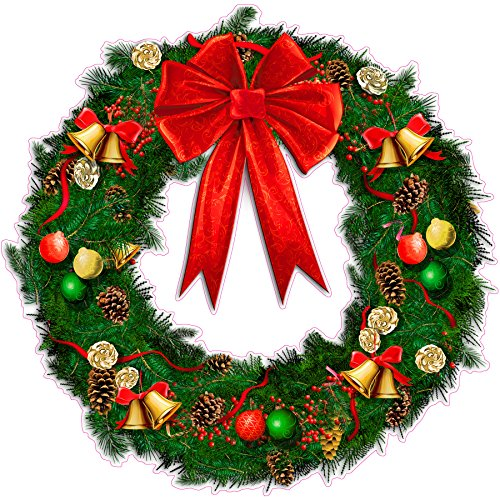 "Christmas Wreath with Ribbon and Bells Wall Decor Large Decal 24"" x 24"" Decal Fast from the United States"
