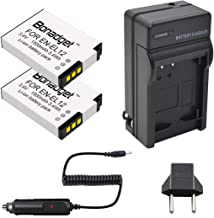 EN-EL12 Battery Bonadget 2Pack 1500mAh Replacement Battery and MH-65 Charger Compatible with Nikon Key Mission 360 Nikon Coolpix AW130 A900 W300 S1200pj S9900 S9500 S9300 S9200 S8200 S6300