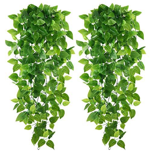 Teldrassil Plantas colgantes artificiales Epipremnum Aureum para decoración de bodas, interiores y exteriores