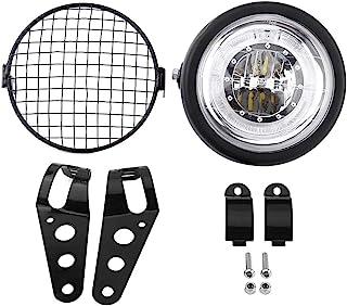 Bo/îtier de lampe Refit phare de moto 7 pouces de r/éfection de phare rond moto H4 avec bo/îtier de lampe et supports de phare