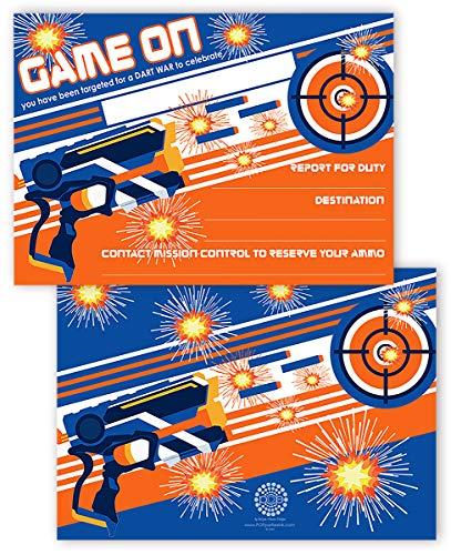 POP parties Dart Gun Invitations - 20 Invitations + 20 Envelopes - Double Sided - Dart War Party Supplies - Dart Gun Party Supplies - Dart War Invitations