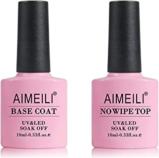 AIMEILI No Wipe Top Coat and Base Coat Set 2x10ml Soak Off UV LED Gel Nail Polish Varnish Long Lasting Manicure Gel Polish