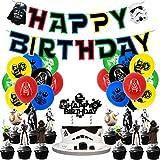 Kit de Decoraciones de Cumpleaños de Star Wars Globos de Baby Yoda Globos de Látex de Star Wars Cupcake Toppers Pancarta de Fiesta de Yoda Suministros de Fiesta Temáticos de Superhéroes