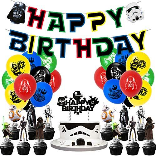 Baby Yoda Geburtstag Dekoration Set,Star Wars Party Supplies,Kompakt Happy Birthday Deko Spirale Partykette Luftballon Baby Yoda für Kinder Partydekorationen